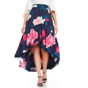 Eliza J Navy Floral Faux Wrap Hi-Low Skirt